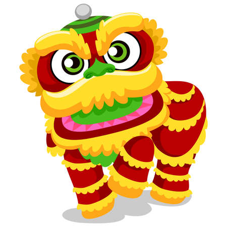 lion dance: Vector Illustration of Lion Dance for Chinese New Year