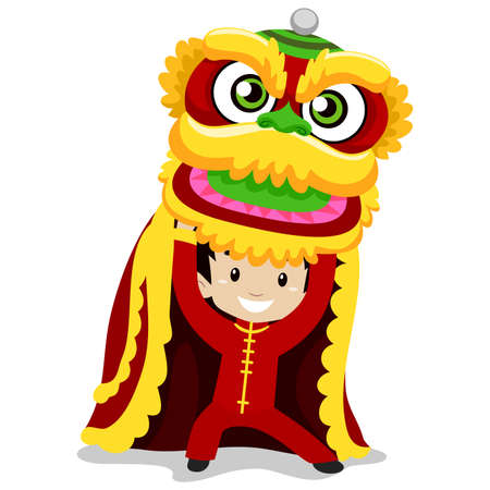 mythical festive: Vector Illustration of Boy with Dragon Dancing
