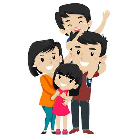 Vector Illustration Set of Asian Happy Family