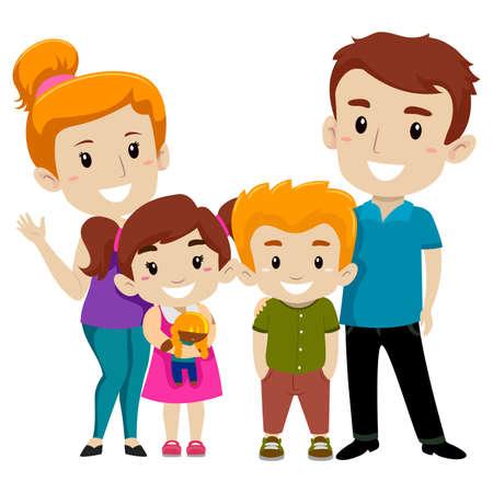 foster parenting: Vector Illustration Set of Happy Family Illustration