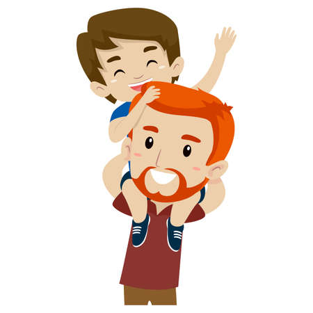 father and child: Vector Illustration of Father and Son doing Piggy Back Ride