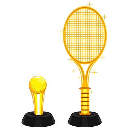 recreational pursuit: Vector Illustration of Lawn Tennis Trophy Illustration