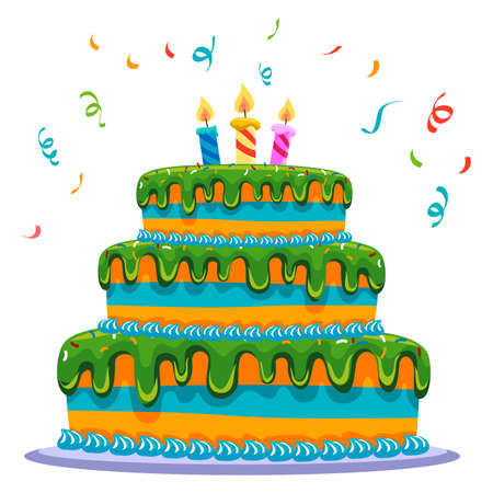 poppers: Vector Illustration of three layered cake
