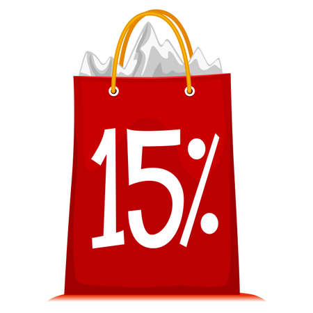 15: Vector Illustration of Shopping Bag printed with 15% Discount