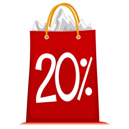 discounted: Vector Illustration of Shopping Bag printed with 20% Discount Illustration