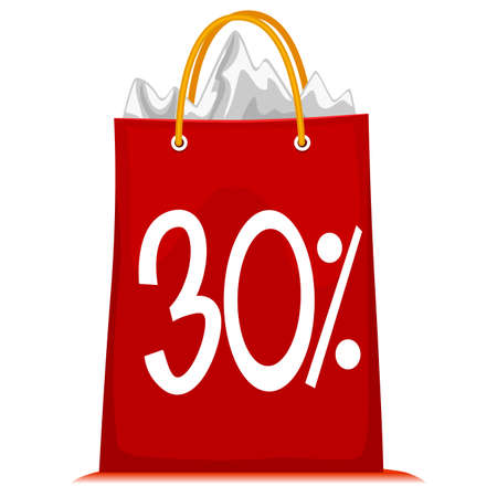 crimson: Vector Illustration of Shopping Bag printed with 30% Discount