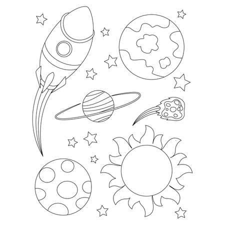 Coloring Book Outlined Outer Space Elements Иллюстрация