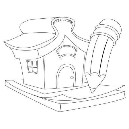 Kolorowanka Kontury Dom z ołówkiem