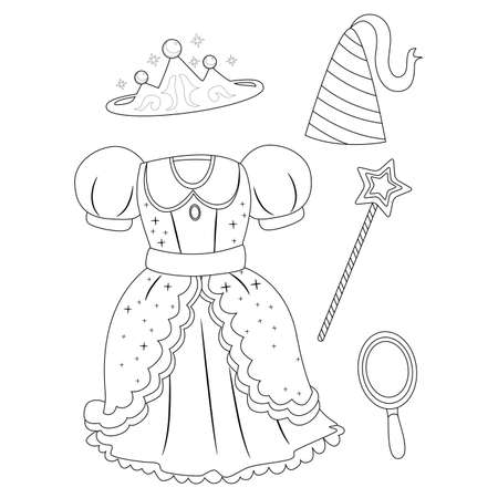 Coloring Book Outlined Princess Elements