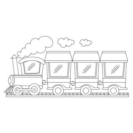 Coloring Book Outlined Train Vector Illustration