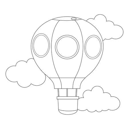 outlined: Coloring Book Outlined Hot air Balloon