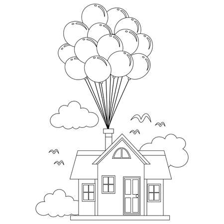 house party: Coloring Book Outlined House with Balloon Illustration