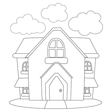 Coloring Book Outlined House 일러스트