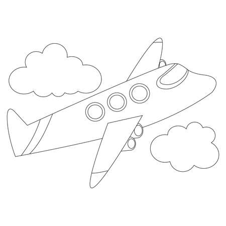 outlined: Coloring Book Outlined Flying Airplane