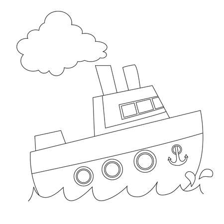 Coloring Book Outlined Ship