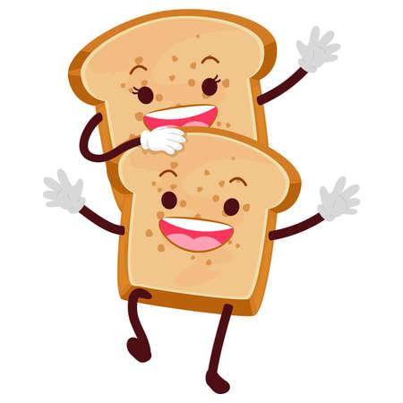 Vector Illustration of Bread Loaf Mascot