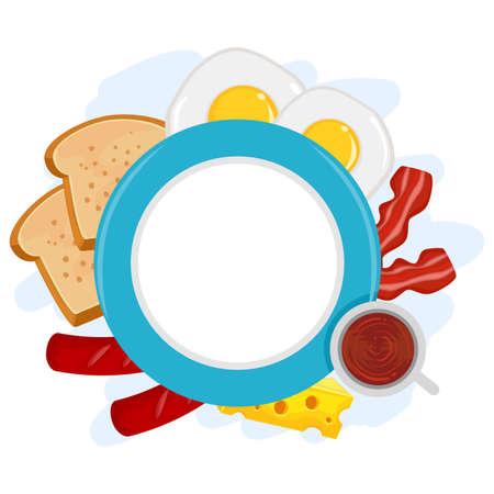 breakfast plate: Vector Illustration of Breakfast Plate Frame
