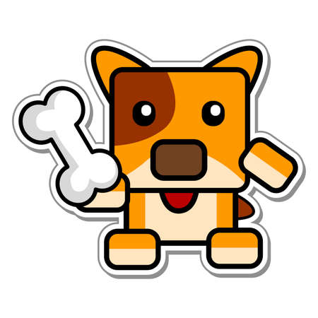 loveable: Vector Illustration of Cartoon Chibi Dog Holding Bone