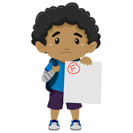 and depressed: Vector Illustration of a Black Boy showing his Failed Exam Illustration