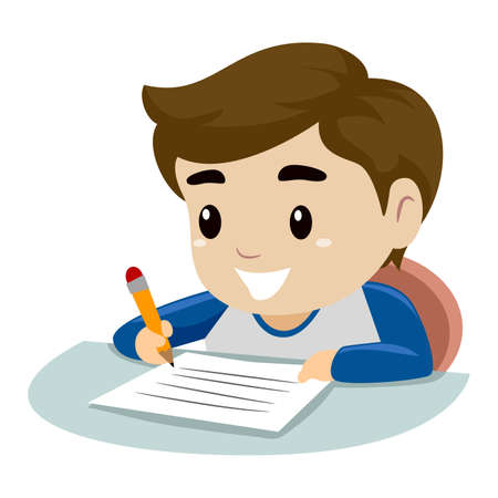 一枚の紙に字を書く小さな少年のベクトル イラスト