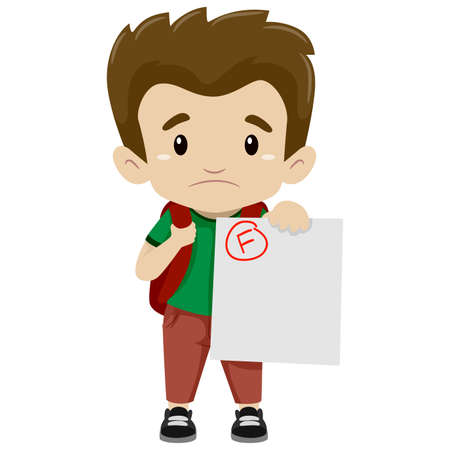 Vector Illustration of a Boy showing his Failed Exam