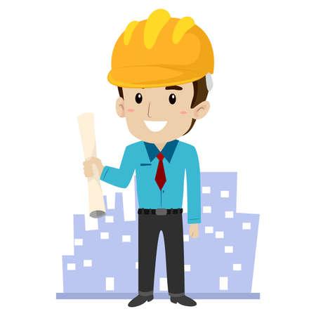 ingeniero caricatura: Ilustración del vector de un arquitecto con el Fondo del edificio