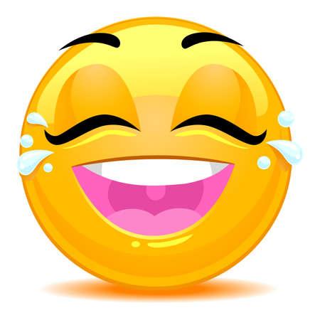 lagrimas: Ilustraci�n vectorial de las l�grimas de la cara sonriente del Emoticon Alegr�a