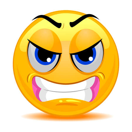 pissed off: Vector Illustration of Smiley Emoticon Angry Face Illustration