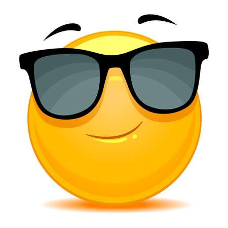Vector Illustration of Smiley Emoticon wearing sunglasses