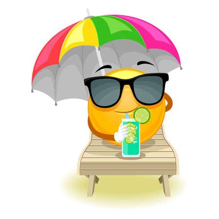 Vector Illustratie van Smiley Emoticon zonnebaden