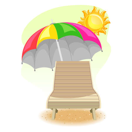 Vector Illustration of Beach Chair Umbrella under the Sun