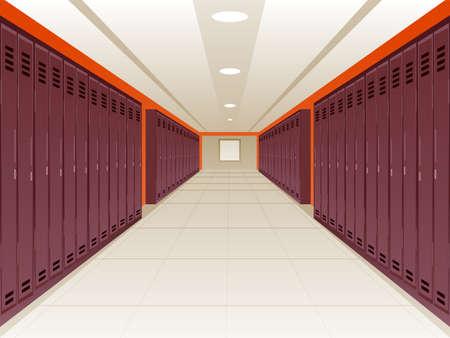 hallway: Vector Illustration of Locker School Hallway