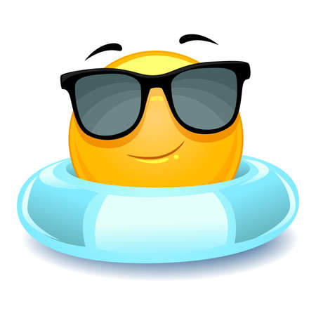 floater: Vector Illustration of Smiley Emoticon wearing floater