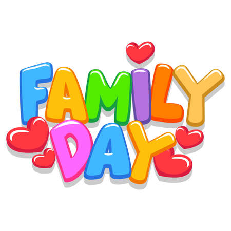 Vector Illustration of Family Day 3d Letters Vettoriali