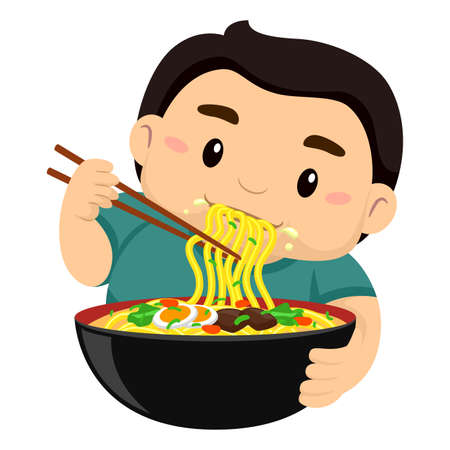 starving: Vector Illustration of a Boy eating noodles using Chopstick