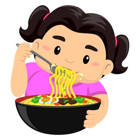 starving: Vector Illustration of a Girl eating noodles using fork Illustration