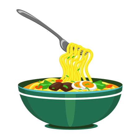 Vector Illustration of Noodles with fork