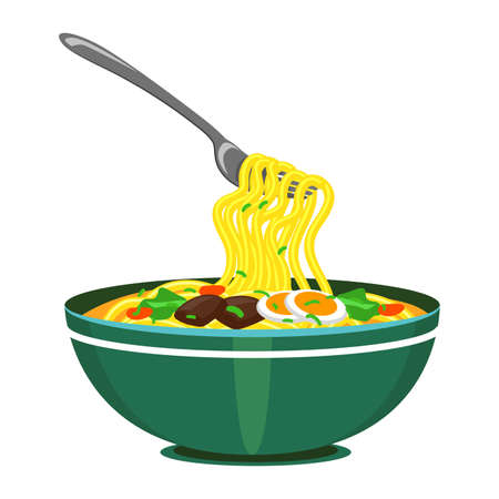 Vector Illustration of Noodles with fork