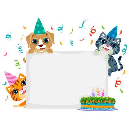 dun: Vector Illustration of Pet Birthday in Blank Board