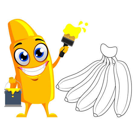 Vector Illustration of Yellow Crayon Mascot Coloring banana