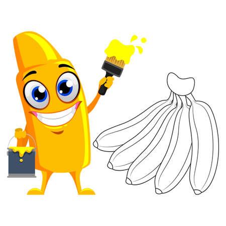 Vector Illustration of Yellow Crayon Mascot Coloring banana