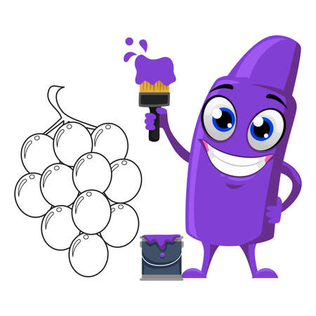 carrying out: Vector Illustration of Violet Crayon Mascot Coloring Grapes