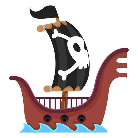 schooner: Vector Illustration of Pirate Ship Sailing in the Sea Illustration