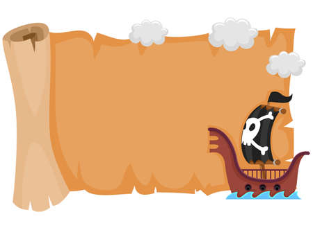 Vector Illustration of Blank scroll map with Pirate Ship