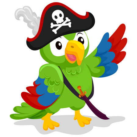 Vector Illustration of Parrot as Pirate Illustration