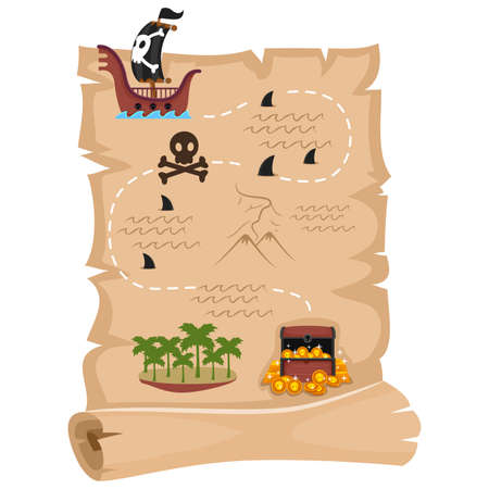 hideout: Vector Illustration of Pirate Map