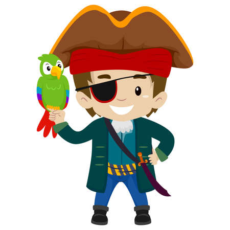 filibuster: Vector Illustration of Pirate Captain Kid with Parrot