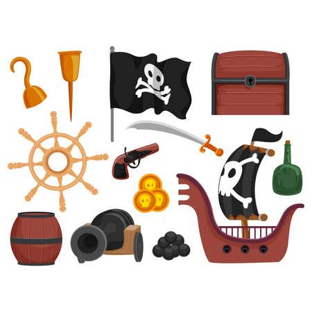 barrel bomb: Vector Illustration of Pirate Elements Illustration