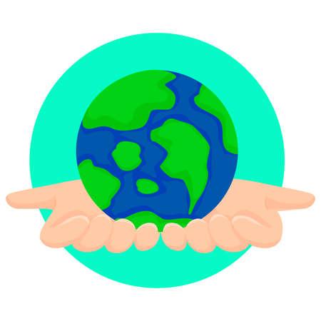 hands holding globe: Vector Illustration of Hands Holding Globe