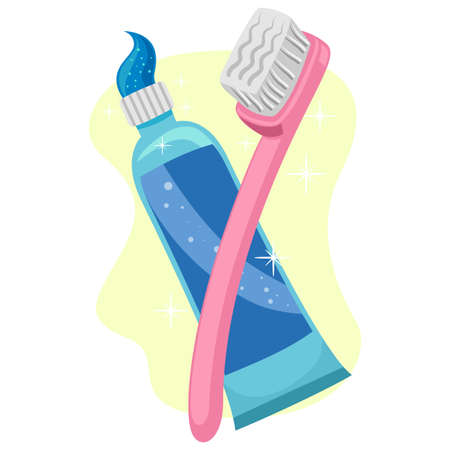 Illustration of Toothbrush and toothpaste